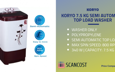 Koryo 7.5kg semi automatic top load